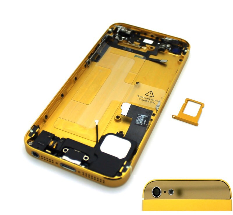 For iPhone 5 Gold Gold Glass Back Cover Housing Full Assembled Middle Frame Bezel Chassis Assembly