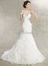 dreses free shipping 2013 real white mermaid tails New Sweetheart Mermaid Organza Ruffles Crystal Bead Bridal Wedding dresses