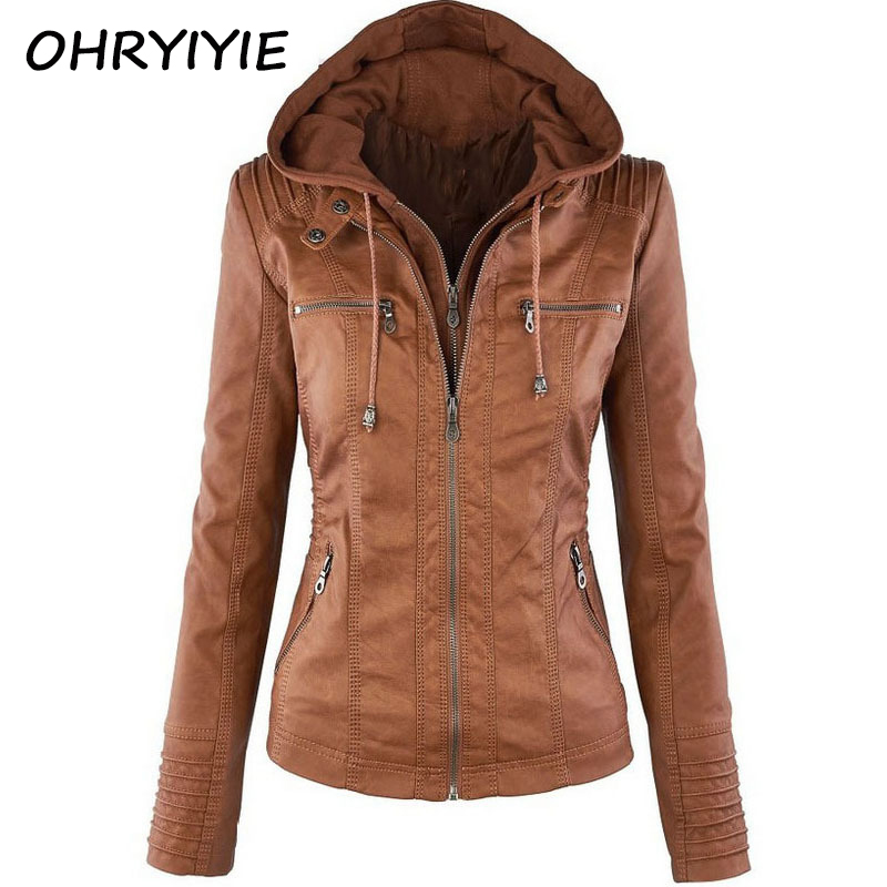 OHRYIYIE Plue Size 7XL Leather Jacket Women Autumn Winter Outerwear Coat Lady PU Leather Clothing Female Motorcycle Jackets