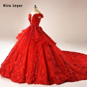 Image 2 - HIRE LNYER 2020 New Arrive Short Sleeve Beading Appliques Lace Flowers Princess Ball Gown Wedding Dresses Vestido de Noiva