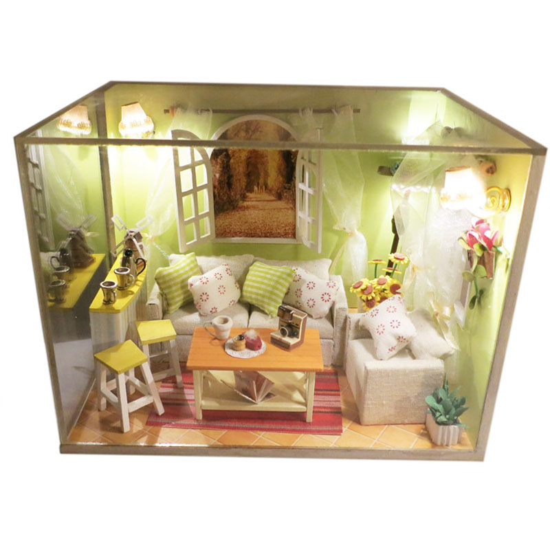 DIY Wooden Doll House Sweet Home Dollhouse LED Light Miniature Coffee Shop Furniture Kits Children Kid Puzzle Toy Birthday GiftDIY Wooden Doll House Sweet Home Dollhouse LED Light Miniature Coffee Shop Furniture Kits Children Kid Puzzle Toy Birthday Gift