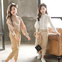 Children Clothing Set Spring Autumn Blouse +Pants Two piece Suit Teenage Kids Clothes For Girls 8 10 12 14 Years