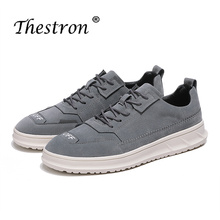 2018 Fashion Spring Autumn Leather Men Shoes Luxury Brand Lace Up Black Khaki Low Top Walking Sneakers Lightweight Mens Footwear