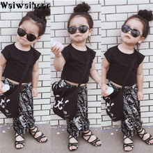 Waiwaibear Baby Kids Girls Summer Sets Short Sleeve T-shirt Tops+Long Pants  2PCS Outfits Clothes Set