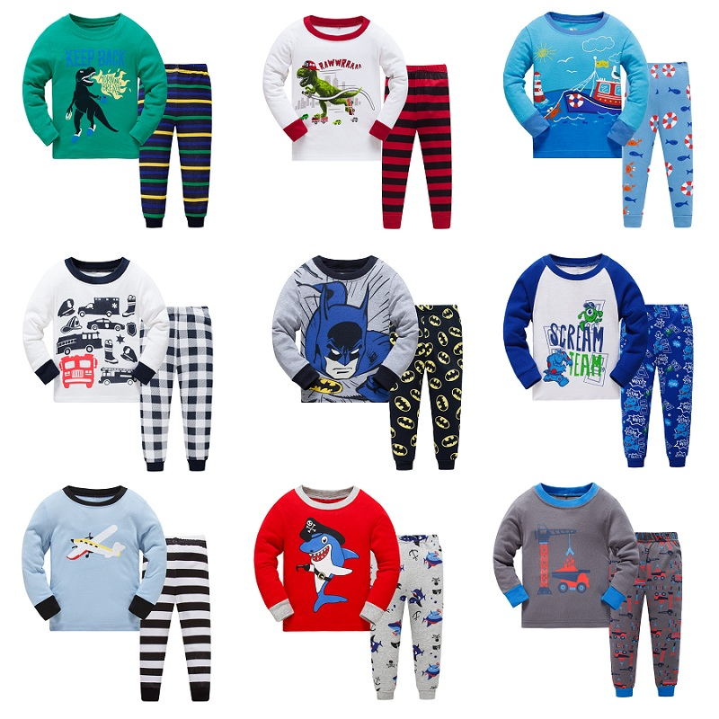 2018 New Cartoon Design Round Neck Boys Cotton   Pajamas     Set   For Child kids long sleeve pyjamas Girls Boys Pyjamas 3~8 Year