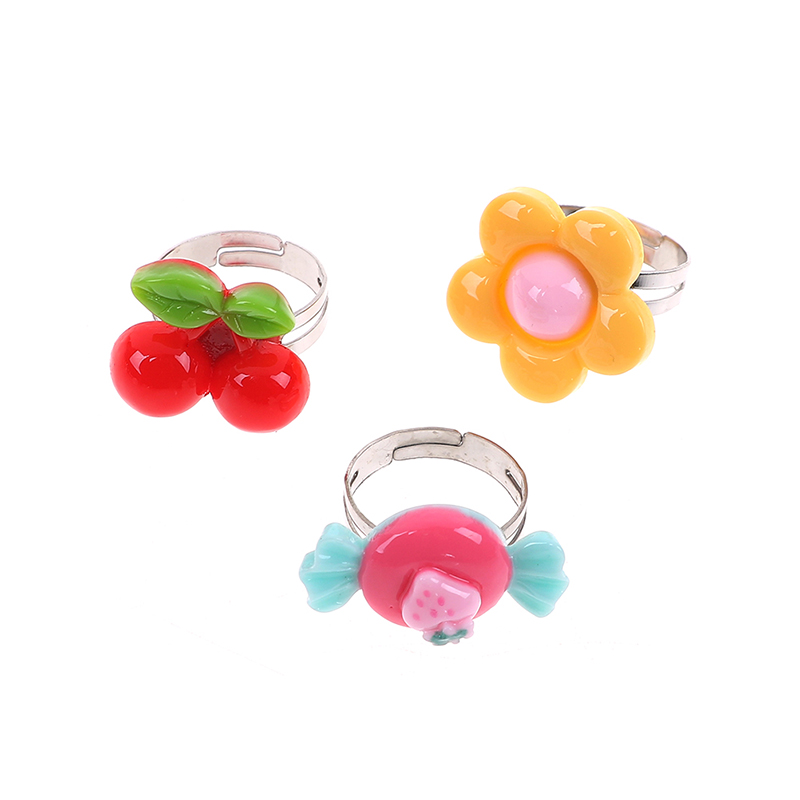 10Pcs/lot Random Adjustable Cartoon Rings For Girls Dress Up Accessories Party Kids Craft Toy