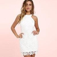 Womens Elegant Wedding Party Sexy Night Club Halter Neck Sleeveless Sheath Bodycon Lace Dress