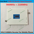 LCD Display !!! Dual Band GSM 900Mhz W-CDMA 2100MHz Mobile Phone Signal Booster 2G 3G Cell Phone Signal Repeater + Power Adapter