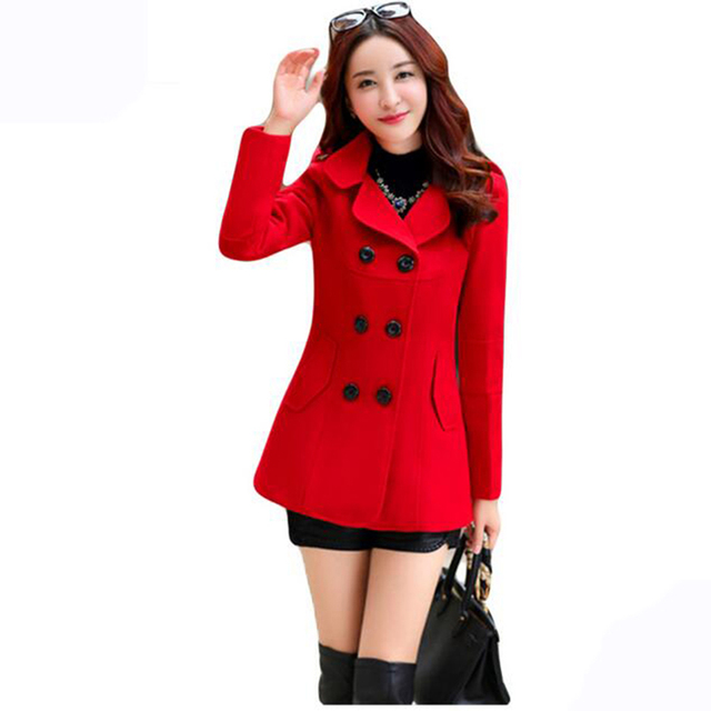 2017 Autumn Winter new fashion women wool coat double breasted coat elegant bodycon cocoon wool long coat Solid color tops LU304