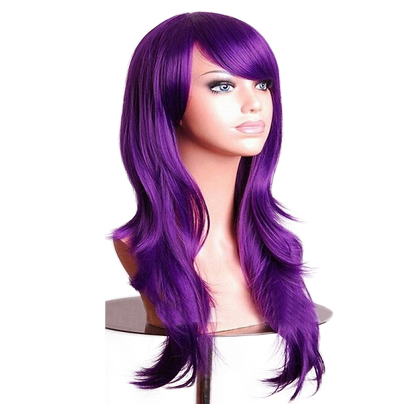 Soowee 70cm Purple Curly Wigs Fake Hairpieces Synthetic Hair Black Pink Red Blue Cosplay Wig For Women