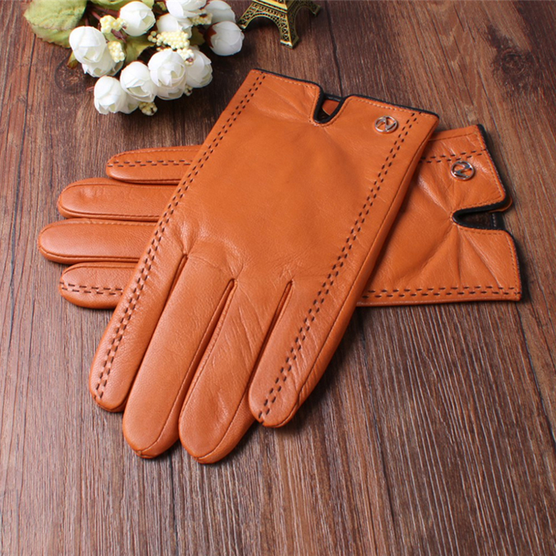 Mode hommes gants en cuir véritable hommes gants automne Plus velours chaud noir gants Nappa peau de mouton mâle mitaines livraison gratuite - 4