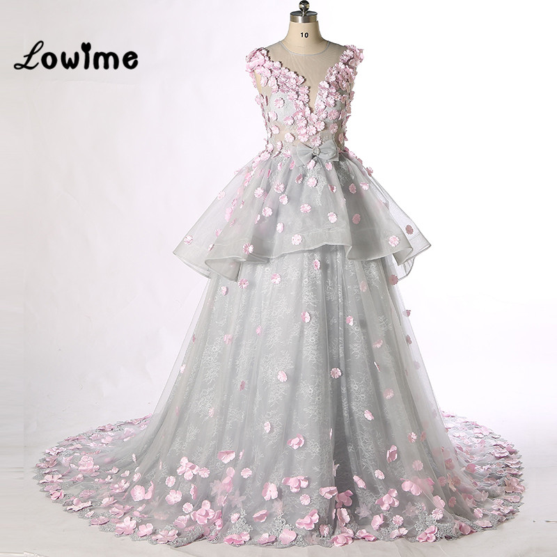 Stunning Sliver Lace Formal Evening Dresses Long with Pink Flowers ...