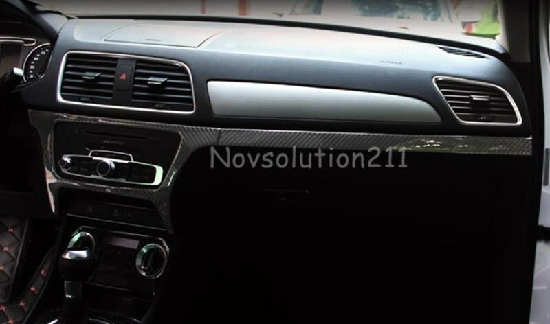 Real Carbon Fiber Center Control Cover & Stripe Trims For Audi Q3 8U 2012 -2015 new for audi q3 8u 2012 2015 true carbon inner door armrest stripe lid trim 4pcs