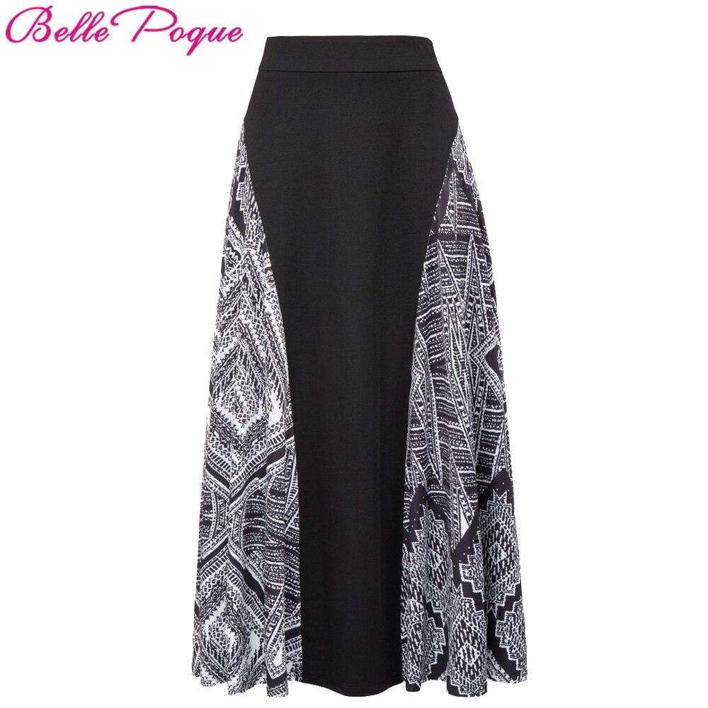 Belle Poque Fashion High Waist Maxi Skirts Saia Faldas Womens Summer Gothic Skirt 2017 Casual Polka Dot Print Ladies Long Skirt