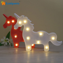 ФОТО Marquee Sign Unicorn LED Letter Lamp 3D LED Baby Night Light Romantic Dim Mood Table Lamp for Kids Room Decorations