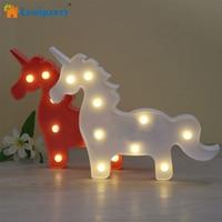 Lumiparty Tendone Lampada 3D LED Bambino Unicorno HA PORTATO LA Lettera Segno Luce di notte Romantica Dim Umore Lampada Da Tavolo per la Camera Dei Bambini 'decorazioni