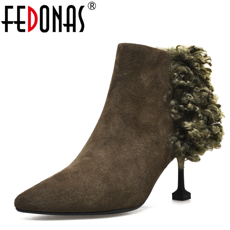 цена на FEDONAS 1Fashion Women Ankle Boots Pointed Toe Elegant Party Wedding Shoes Woman Autumn Winter Warm Cow Suede High Heels Shoes