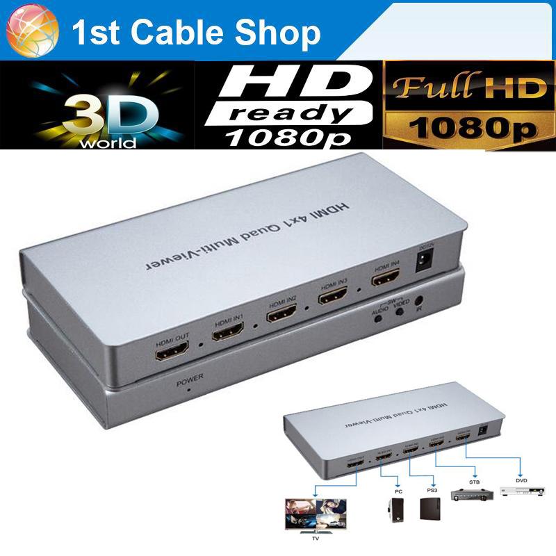 Prix pour 4X1 HDMI Multi-spectateur HDMI Quad Écran En Temps Réel Multiviewer avec HDMI seamless Switcher fonction complet 1080 P et 3D