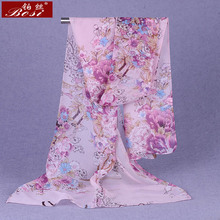 100% silk feel print Scarf Fashion hijab Shawls women scarves wrap Hijab cape female luxury brand stoles Floral muslim