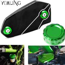 Motorcycle Rear Fuel Brake Fluid Reservoir Cover Tank Cap Front Cylinder Reservoir Cover For Kawasaki ER6N ER-6N ER6F 2006 -2018 er 6n motorcycle cnc rear brake reservoir cover caps cylinder reservoir cover for kawasaki er 6n er6n f er 6n 2009 2014