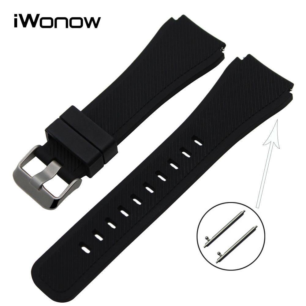 22mm Silicone Rubber Watchband Quick Release for Samsung Galaxy Watch 46mm (SM-R800) Band Steel Clasp Strap Wrist Belt Bracelet цены онлайн