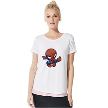 Marvel Avengers hero SpiderMan/Captain/Iron Man Plus Size Loose O-NECK Modal Short Sleeve Womens Clothing Fashion Casual A193291