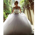 Gothic Ball Gown Romantic Bridal Tulle Skirt  Pearl Wedding Dress with Long Sleeve Crystal Vestidos de casamento de luxo