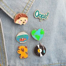 1Pc Cute Hedgehog/Dog/Record/Goldfish/Oops Design Metal Brooches Pins Hats Clips Enamel DIY Lovely Cartoon Gift Freeshipping(China)