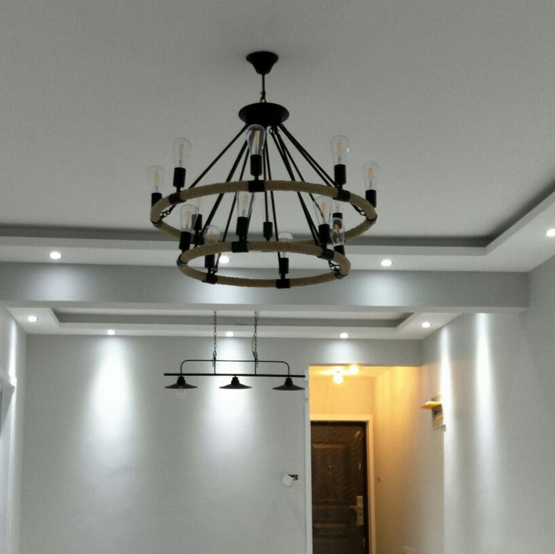Circular Annular Antique Vintage Retro Hemp Cable Cord Wire Rope Hanging Chandelier Light Lamp Loft For Dinning Foyer Restaurant Chandeliers