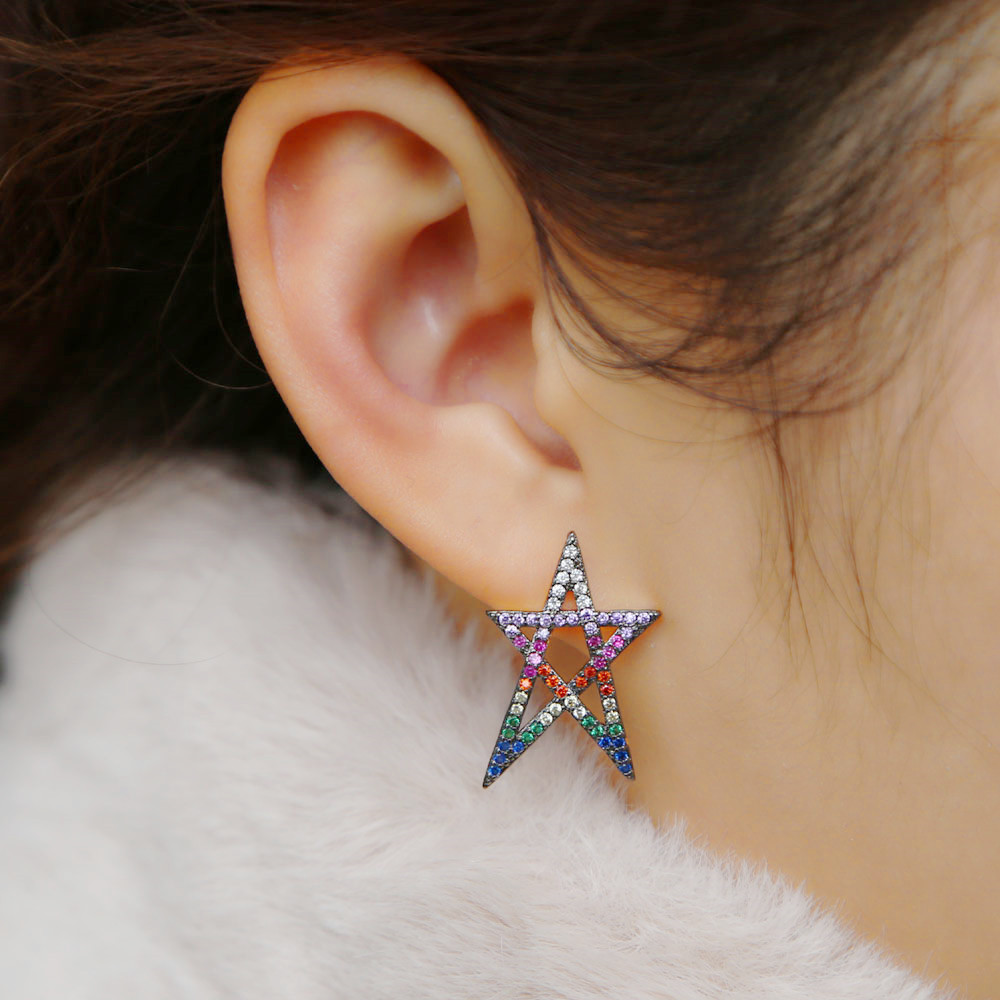 2020 hollow out rainbow star big stud earring for women girl paved micro shiny AAA CZ chic brinco gift delicate fashion jewelry