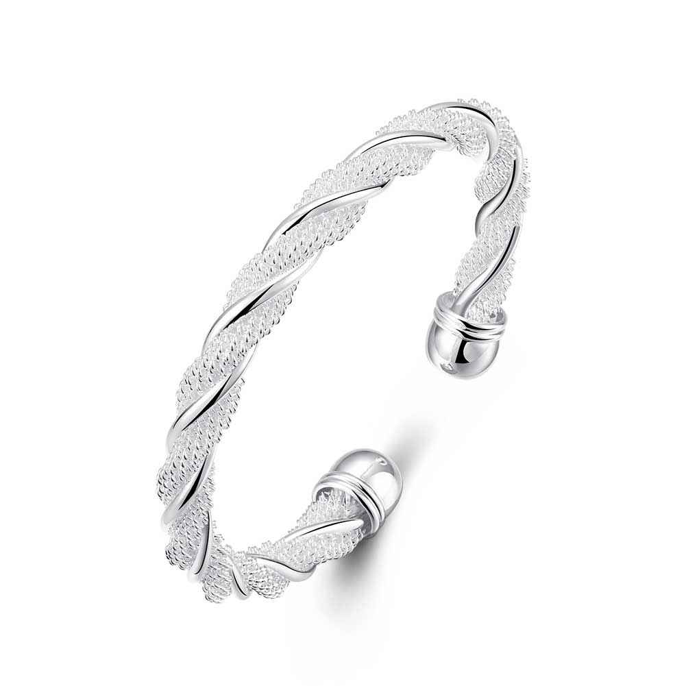 Free Shipping best friends silver plated bracelets Twisted wire mesh ...