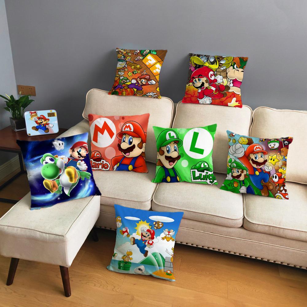 Classic Game Colorful Cartoon Super Mario Pillowcases 45*45cm Cushion Cover Soft Short Plush Decor Pillow Case Car Sofa Home