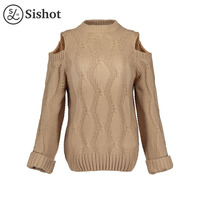Sishot Women Casual Knitwear 2017 Autumn Khaki Plain Loose Long Sleeve Sexy Hollow White Solid O