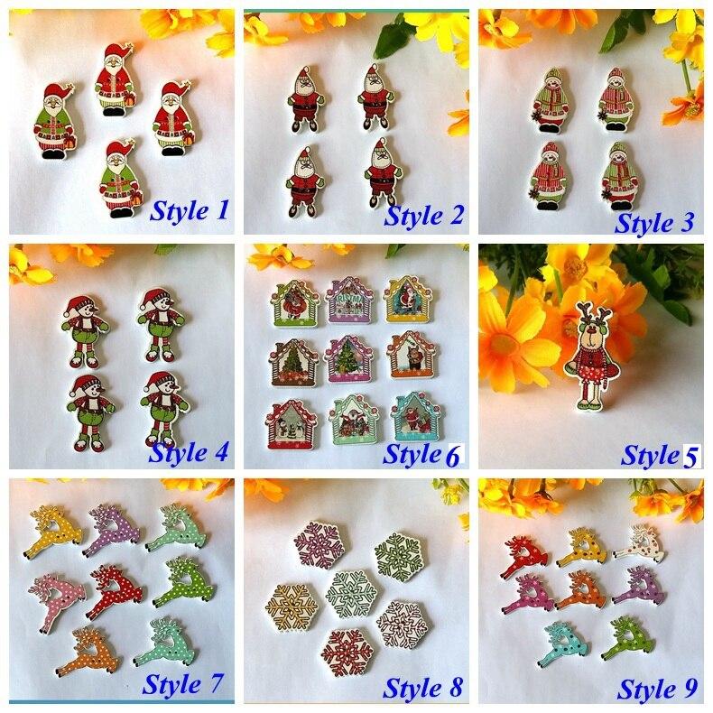 mix 9 pattern christmas button randomly 120pcs flatback 2 holes decorative craft buttons wooden arts crafts sewing accessories - Christmas Buttons