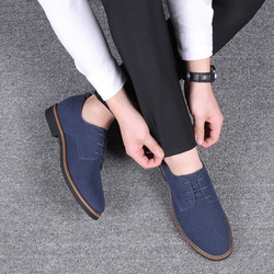2019 High Quality Suede Leather Soft Shoes Men Loafers Oxfords Casual Male Formal Shoes Spring Lace-Up Style Men's Shoes 9