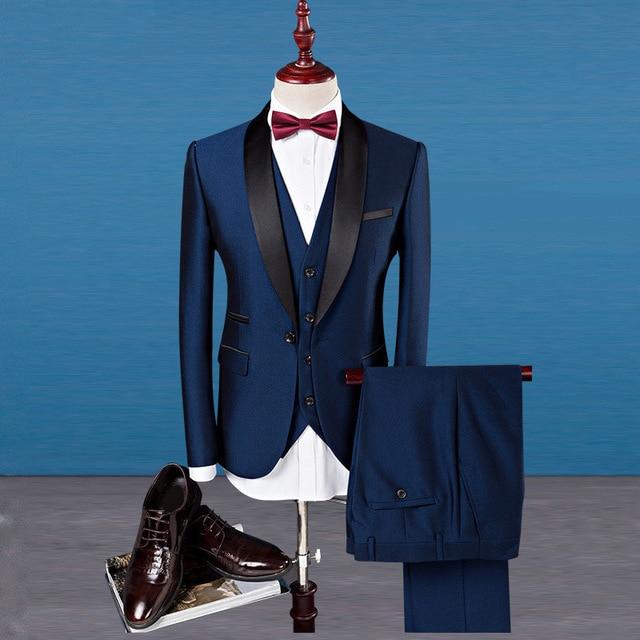 Niestandardowe Slim Fit szczyt Lapel Best Man garnitur niebieski Groomsman mężczyźni ślubne Prom garnitury męskie smokingi balu kostium Homme kurtka + spodnie + kamizelka w Garnitury od Odzież męska na  Grupa 1