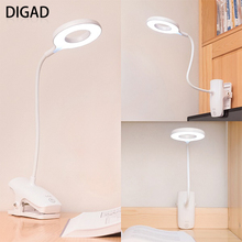 DIGAD Desk lamp USB led Table Lamp 28 LED Table lamp with Clip Bed Reading book Night Light LED Desk lamp Table Touch 3 Modes desk lamp usb rechargeable touch switch led clip on table reading light dc 5v 500ma night light