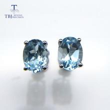 TBJ, простые серьги-гвоздики с натуральным драгоценным камнем из стерлингового серебра 925 пробы с небесно-голубым топазом овальной формы 6*8 мм Серьги для офисных девушек для ежедневного использования