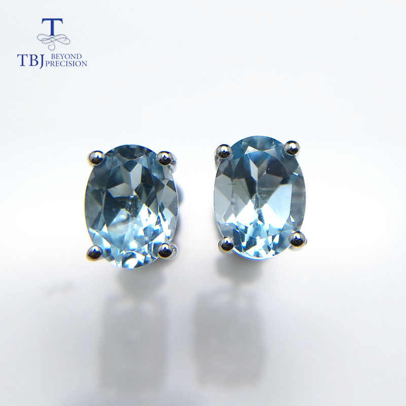 TBJ,simple natural gemstone earring studs in 925 sterling silver with sky blue topaz oval 6*8mm earring office girls daily use