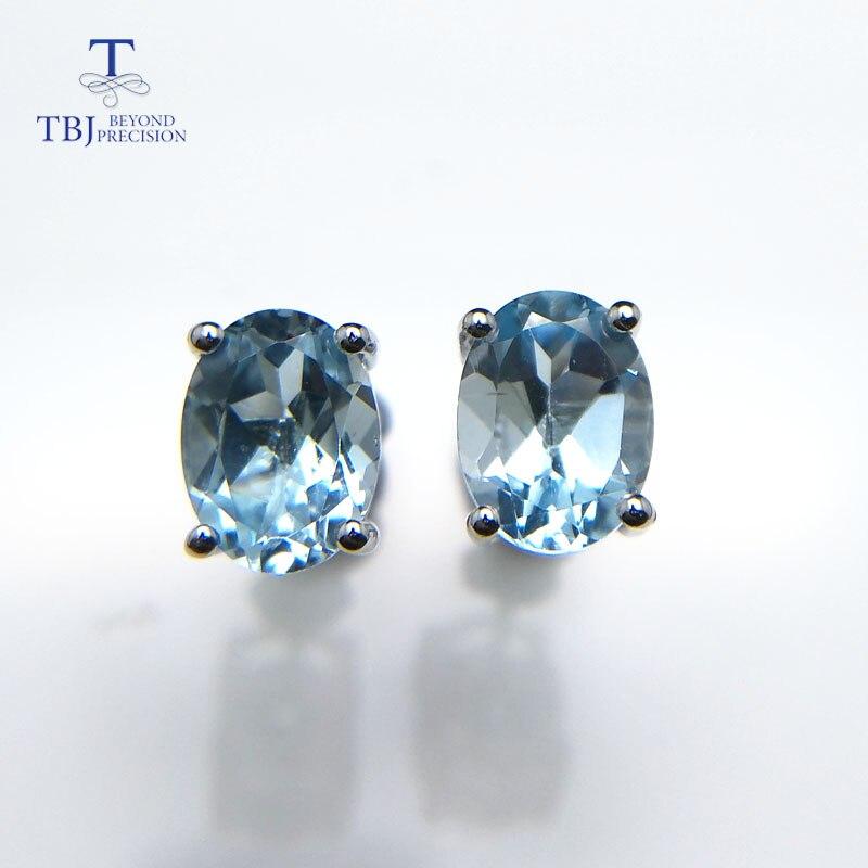 TBJ, простые серьги-гвоздики с натуральным драгоценным камнем из 925 пробы серебра с небесно-голубым топазом, овальные серьги 6*8 мм, для офиса, для девочек, для ежедневного использования