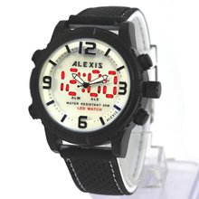 Часы alexis водонепроницаемые силиконовые черные с двойной индикацией