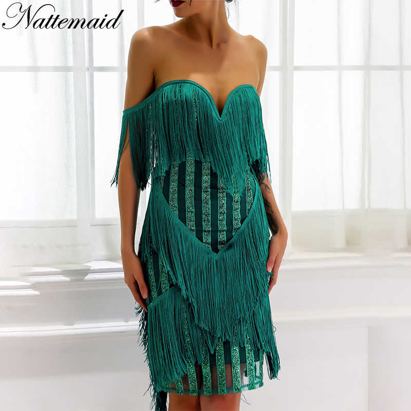 NATTEMAID Summer Tassel Party Dress Women Sexy V Neck Sleeveless Elegant Vestidos  Autumn Sequin Vintage tassel Dresses 2018