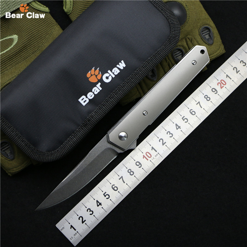 Bear claw Custom Kwaiken Flipper folding knife D2 steel TC4 Titanium + steel handle camping hunting pocket fruit Knives EDC tool bestlead chinese peony pattern zirconia ceramics 4 6 knife chopping knife peeler holder