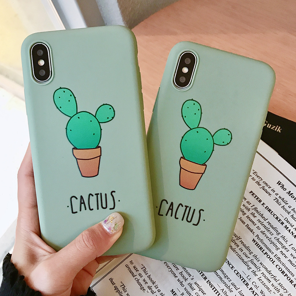 KIPX1074_2_JONSNOW Cactus Pattern Case for iPhone 6S 6P 7 8 Plus Soft Silicone Case for iPhone X XR XS Max Cartoon Painted Back Cover Capa Coque Fundas