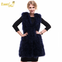 Real Ostrich Fur Vest Fashion Rare Women Genuine Fur Coats Clothes Ostrich China Female Ostrich Feather Clothing Winter Vest
