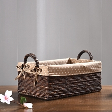 Corn husk storage hanging baskets for toys organizer clothes rattan straw snack bread boxes fruit picnic basket