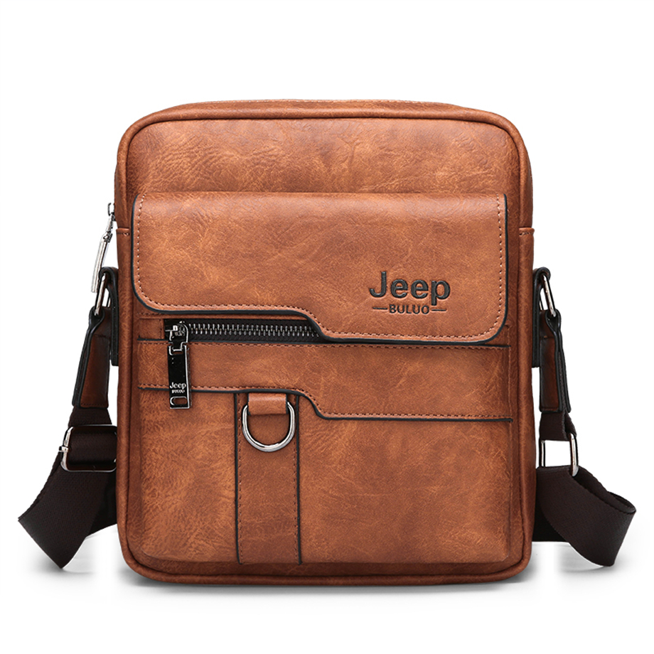 JEEP BULUO Luxury Brand Men Messenger Bags Crossbody Business Casual Handbag Male Spliter Leather Shoulder Bag Large Capacity 2