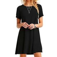 Высококачественное модное женское платье черного и синего цвета, летнее повседневное свободное платье с коротким рукавом и круглым вырезо...