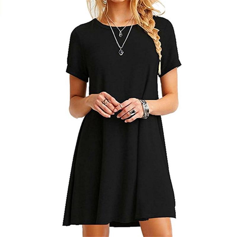 High Quality Fashion Women Black Blue Dress Summer Short Sleeve O-Neck Casual Loose Dress Female Street Plus Size Dress Vestidos