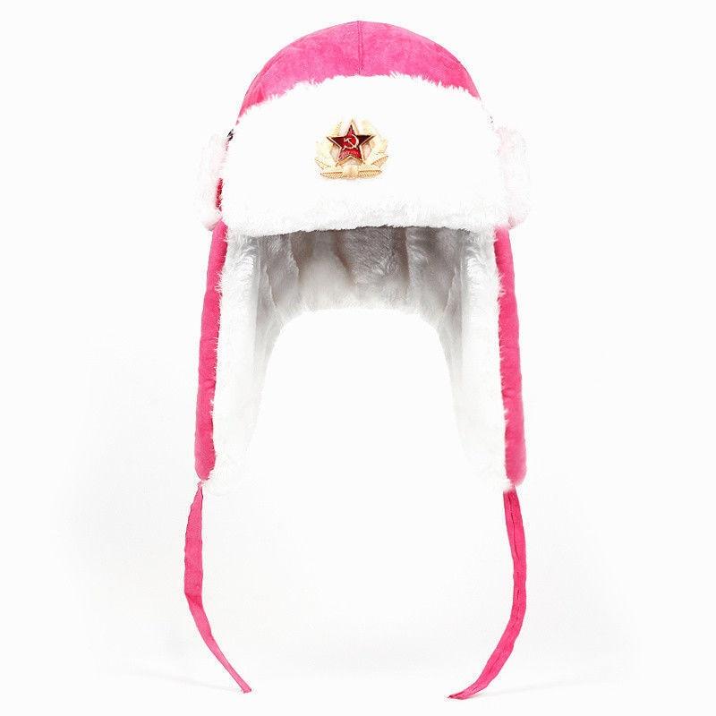 Black Airman Leather Ushanka Winter Russian Hat Ski Fur Pilot Military Army